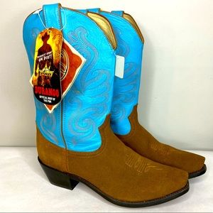 Durango Blue Leather Tan Suede Cowgirl Boots